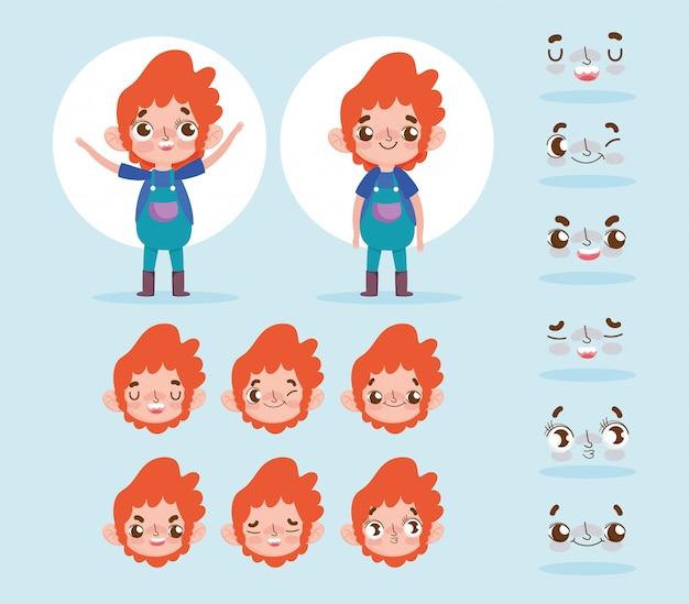 Animacja postać z kreskówki mały chłopiec twarz gesty