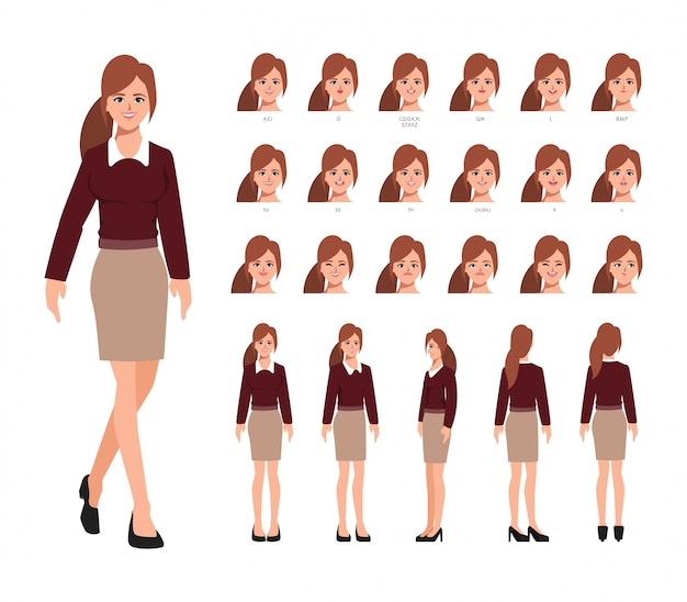 Animacja postaci bizneswoman tworzenie ludzi z emocjami twarz animacji usta.