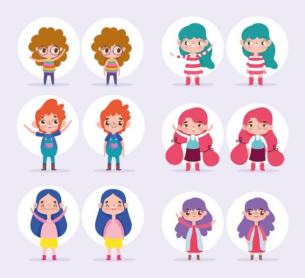 Animacja postaci z kreskówek chłopiec i dziewczynka różnych pozach i gestach