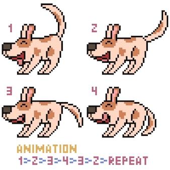 Animacja psa sztuki pikseli na białym tle