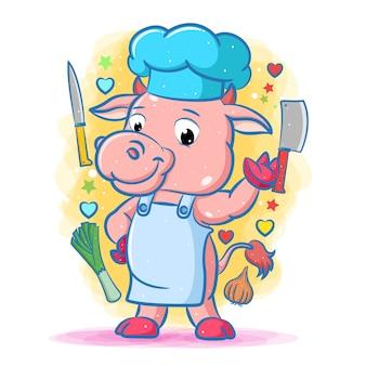 Animacja różowej krowy szefa kuchni z narzędziami kuchennymi i warzywami