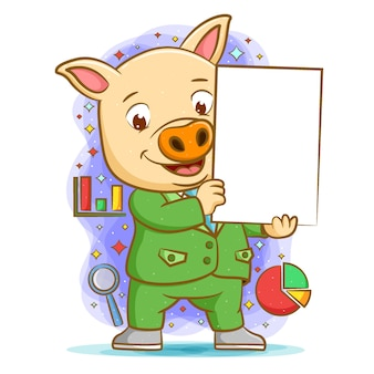 Animacja świnki przy użyciu zielonego zestawu trzymającego pustą tablicę do prezentacji