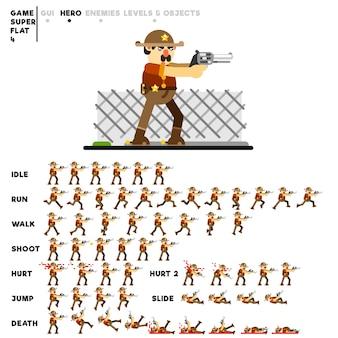 Animacja szeryfa ze źrebakiem do stworzenia gry wideo
