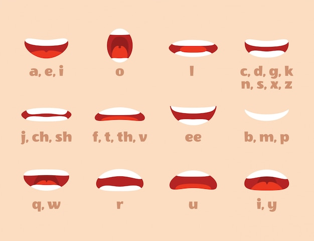 Animacja ust. usta kreskówek wyrażają ekspresję, artykulację i uśmiech. mówienie mówiące usta na białym tle