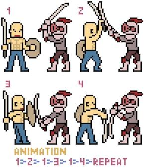 Animacja walki mieczem sztuki pikseli na białym tle