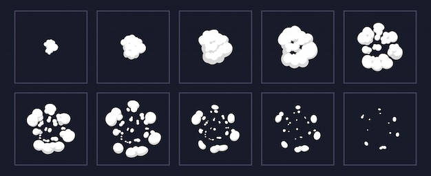 Animacja wybuchu dymu. kreskówka wybuch animowany strzał, eksplozja klatek chmur. zestaw ilustracji scenorysu efektu wybuchu. efekt puff ruchu, boom ruchu flash