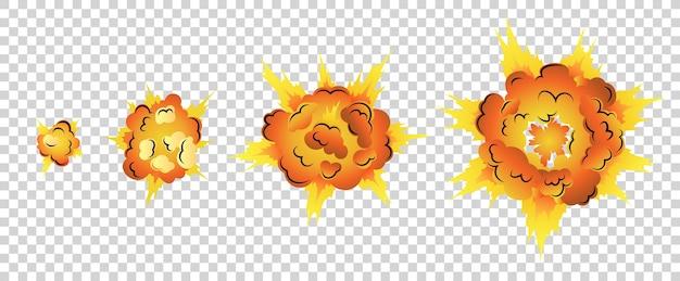 Animacja wybuchu kreskówki do gry. projektowanie komiksów storyboard boom. ręcznie rysowane efekt wybuchu.