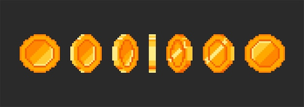 Animacja złota moneta pikseli, pieniądze