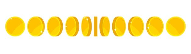Animacja złotej monety do gry i aplikacji. złote monety w różnych kształtach, pozycjach. pieniądze się obracają.