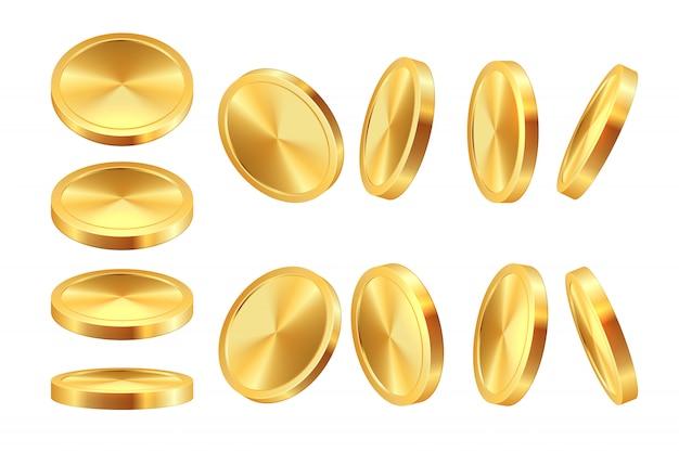 Animacja złotej monety. realistyczne pieniądze kasyno waluta złoty dolar monety gra monety szablon. jackpot gotówkowy 3d