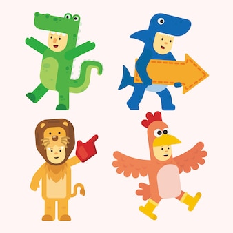 Animal costume vector pack