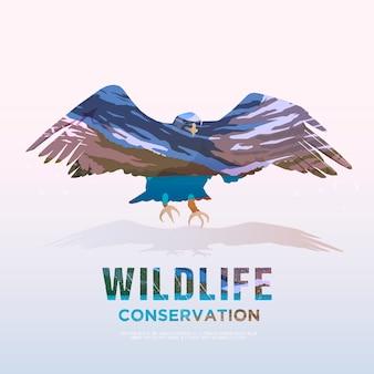 Animals of america ilustracja na tematy dzikich zwierząt ameryki, przetrwanie na wolności, polowanie, camping, wycieczka. górski krajobraz. orzeł.