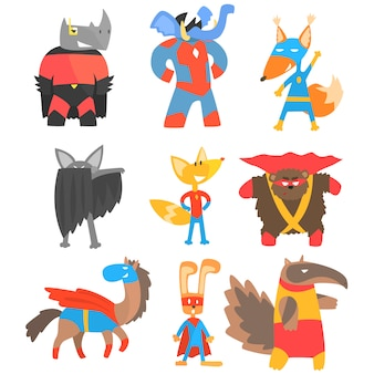 Animas przebrany za superbohaterów zestaw naklejek w stylu geometrycznym