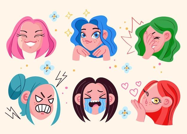 Anime dziewczyna twarz głowy emoji z różnymi wyrażeniami emocji na białym tle zestaw wektor płaskie kreskówka ilustracja graficzna