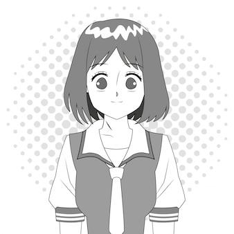 Anime girl japoński charakter czarno-biały