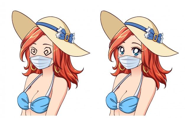 Anime śliczna kobieta ubrana w letni kapelusz, bikini i maskę medyczną. zestaw dwóch różnych wyrażeń. turystyka koronawirusowa. ręcznie rysowane ilustracji wektorowych.