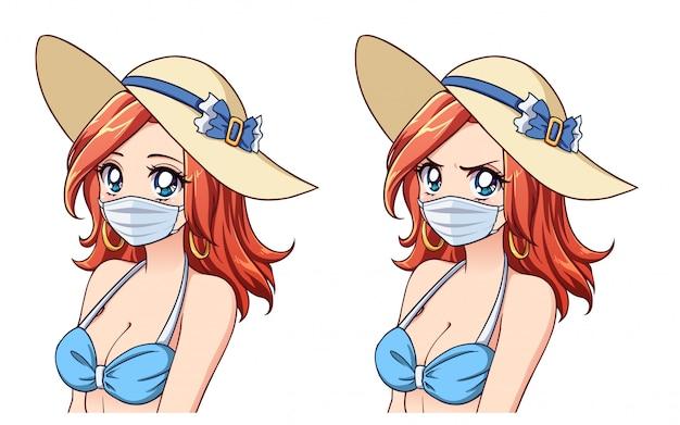 Anime śliczna kobieta ubrana w letni kapelusz, bikini i maskę medyczną.