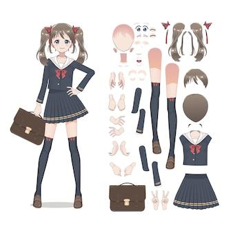 Anime uczennica manga w spódnicy, pończochach i tornister.