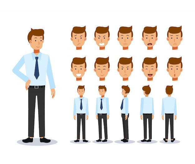 Animowana postać z przodu, z boku iz tyłu. zestaw tworzenia postaci płaskich biznesmena z różnymi widokami, styl kreskówki, płaska ilustracja. emocja.