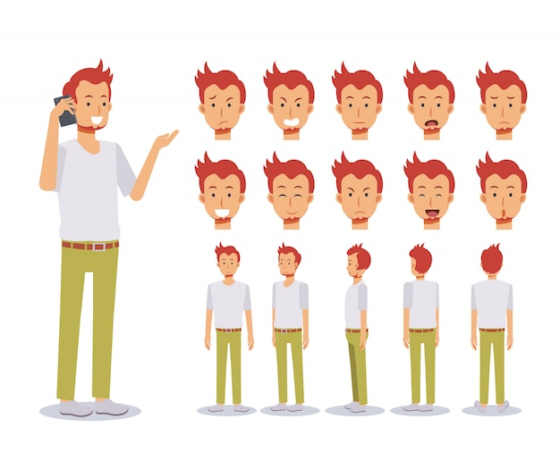 Animowana postać z przodu, z boku iz tyłu. zestaw tworzenia postaci płaskich z różnymi widokami, styl kreskówki, płaska ilustracja. emocja. przypadkowy mężczyzna