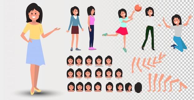 Animowana postać z przodu, z boku, z tyłu. zestaw do tworzenia postaci nastolatki z różnymi widokami, fryzurami, emocjami na twarzy