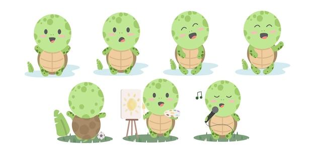 Animowane żółwie. szczęśliwe śmieszne zwierzęta prowadzące kolekcję żółwia. ilustracja żółwia przyjaznego, aktywnego i energicznego żółwia