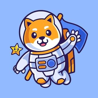 Animowany shiba inu w stroju astronauty
