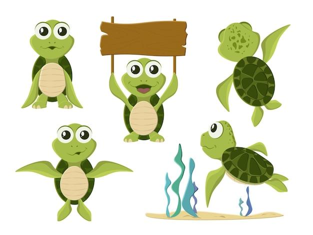 Animowany żółw w różnych pozach akcji. animowany żółw. śliczne postacie dzikich zwierząt żółw na białym tle.
