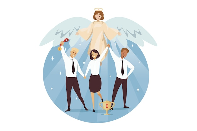Anioł biblijny charakter religijny chroni biznesmenów kobiety urzędników menedżerów