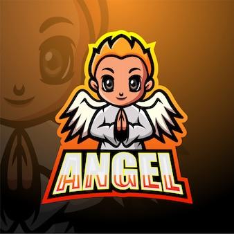 Anioł chłopiec maskotki esport ilustracja