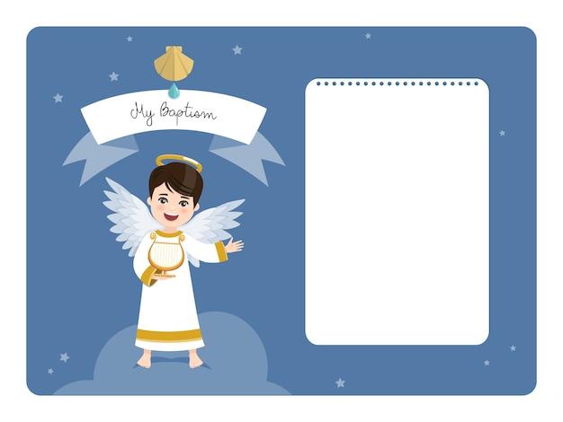 Anioł grający na harfie. poziome zaproszenie na chrzest z przesłaniem. mieszkanie