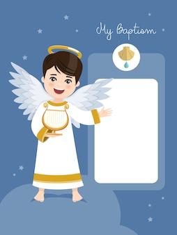 Anioł grający na harfie. zaproszenie na chrzest z przesłaniem na tle błękitnego nieba i gwiazd. mieszkanie