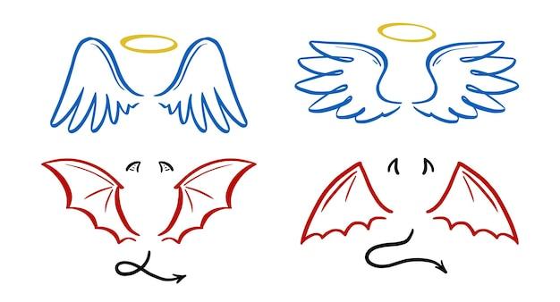 Anioł i diabeł stylizowane ilustracji wektorowych. anioł ze skrzydłem, aureola. diabeł ze skrzydłem i ogonem. ręcznie rysowane styl szkicu linii.