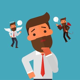 Anioł i diabeł unoszący się nad myślącym biznesmenem