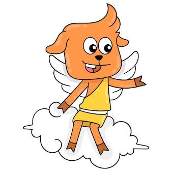 Anioł i skrzydlaty bóg jelenia siedzą na pięknej chmurze grając w gry, ilustracja wektorowa sztuki. doodle ikona obrazu kawaii.