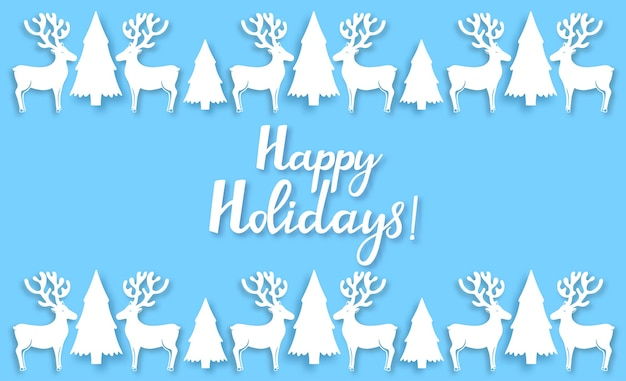 Anioł, jeleń, jodła. dekoracje noworoczne w stylu wycięte z papieru. wesołych świąt ręcznie rysowane napis. poziomy plakat gratulacyjny. kartka z życzeniami