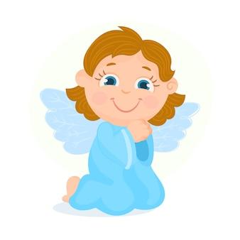Anioł modli się na kolanach