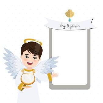 Anioł na pierwszym planie grający na harfie. zaproszenie na chrzest z przesłaniem. mieszkanie