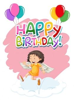 Anioł na szablonie urodzinowym