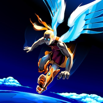 Anioł obserwuje planetę ziemię