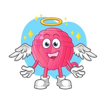 Anioł piłka przędza ze skrzydłami. postać z kreskówki