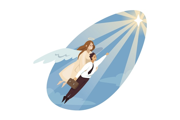 Anioł prowadzenia kierownika urzędnik młody biznesmen pomaga latanie do gwiazdy