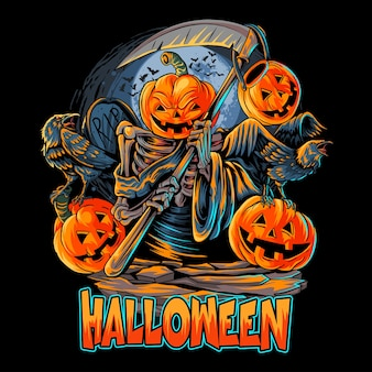 Anioł śmierci głowa dyni halloween