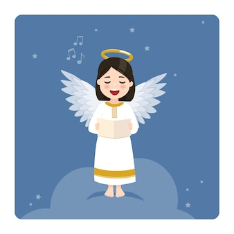 Anioł śpiewa na tle błękitnego nieba i gwiazd. płaska ilustracja