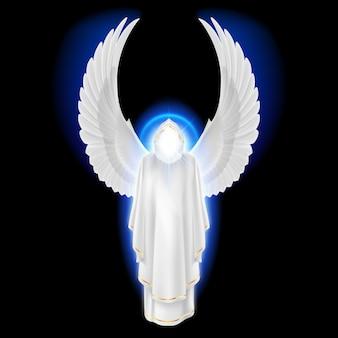 Anioł stróż bogów w białej sukni z niebieskim blaskiem na czarnym tle. obraz archaniołów. koncepcja religijna