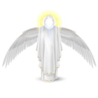 Anioł stróż bogów w bieli ze skrzydłami w dół. obraz archaniołów. koncepcja religijna