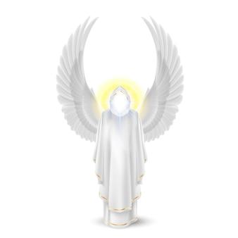 Anioł stróż bogów w kolorze białym. obraz archaniołów. koncepcja religijna