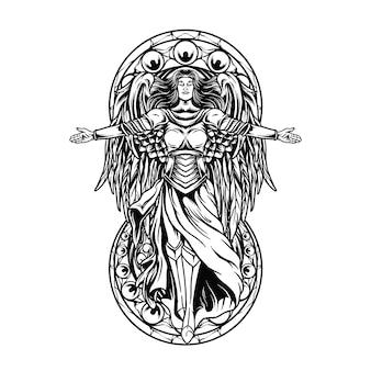 Anioł stróż czarno-biały