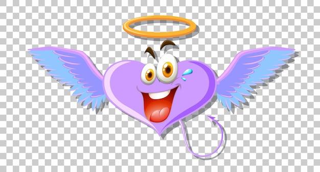 Anioł w kształcie serca z wyrazem twarzy