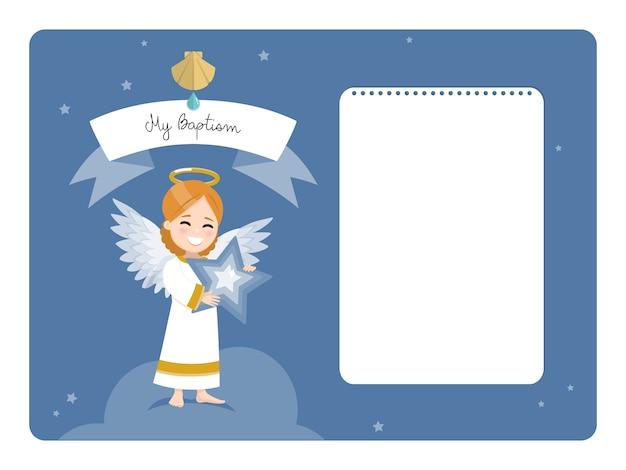 Anioł z niebieską gwiazdą. poziome zaproszenie na chrzest z przesłaniem. płaska ilustracja